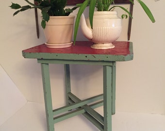 Vintage Rustic Plant Stand Stool Red and Green Wood