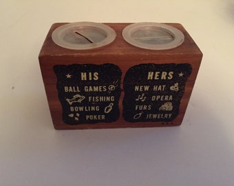Vintage His Hers Wood Bank