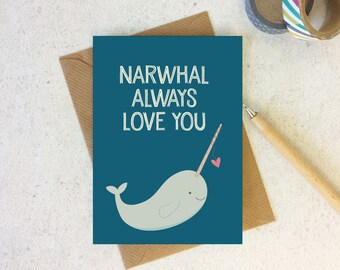 Narwhal Love Card - anniversary card - valentine card for boyfriend - valentine card - valentine's day card - narwhal card