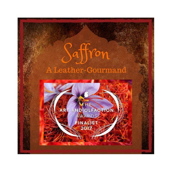 A Saffron and Leather Perfume Oil with a Gourmand touch of Vanilla & Hazelnut, Jasmine, and the scent of Peach, Spice, Tobacco, and Amber.