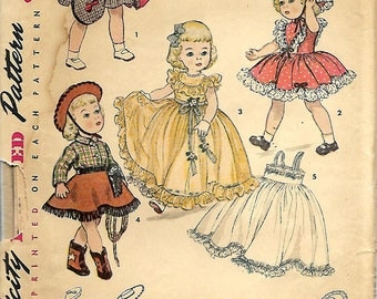 "1950's Doll Wardrobe Pattern For 16"" Doll, UNCUT/FF"