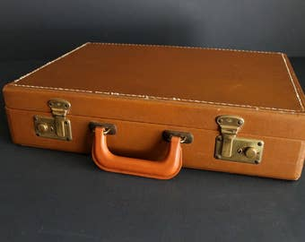 Vintage Brown Briefcase Hardside Attache Luggage