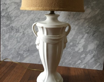 Vintage Lamp  Porcelain White Glossy Cream Finish Urn Style Inspired Jar Lighting Blanc de Chine Tablelamp Hollywood Regency Chinoserie