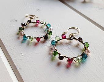 Christine - Teal Blue Ruby Pink Green Hoop Earrings, Swarovski Crystal Mixed Metal, Ready to Ship