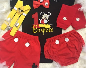 5-pc set Mickey mouse Inspired Birthday Top,2bottoms,suspenders and bow tie