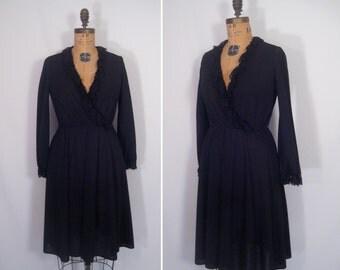 1970s minimalist noir party dress • 70s sheer black lace trim faux wrap dress • vintage sundown, sundown dress