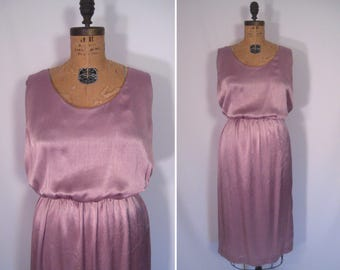 1970s dusty mauve disco dress • 70s smoky pink party dress • vintage close your eyes dress