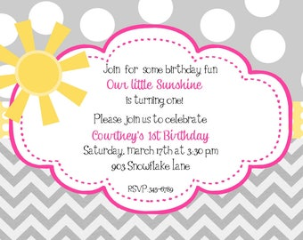 Sunshine Birthday Party invitations printable or digital file-- DIY- ANY COLORS