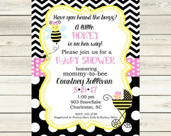 Pink Bumblebee  Bee Baby Shower invitations little honey- printable or digital file - DIY invites ANY COLORS