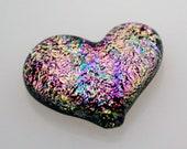 Dichroic Cabochon, Heart Cabochon, Dichroic Heart Cabochon, Heart Glass Tile, Mosaic Tile, Jewelry Cab, Handmade Cabochon
