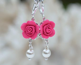 Hot Pink Rose Statement Earrings. Rose Earrings. TAMARA