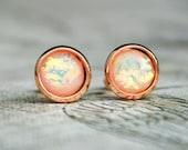 White Fire Opal - Stud Earrings - Rose Gold Tone Brass - Gold Tone Brass - Stainless Steel Settings - 8 mm