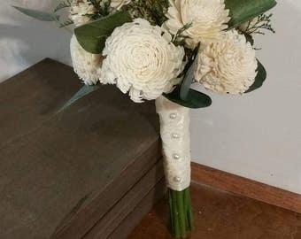 Wedding Bouquet, ivory Sola wood Bouquet, Woodland Dried Bouquet, Bridal Bouquet, Sola flowers, Alternative Bouquet, Rustic Handmade