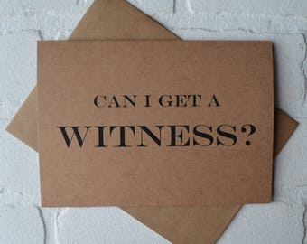 CAN I get a WITNESS junior bridesmaid card be my personal attendant funny bridal party cards kraft fun bridesmaid proposal card