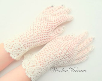 Bridal accessories,ivory irish lace gloves,crochet jewelry,elegant evening gloves,romantic wedding,victorian style summer glove,gift for Her