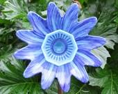 Hand Painted Glass Flower Garden Art - Indoor or Outdoor Garden Decor - Lawn Ornament, Glass plate flower - outside decor - glass art
