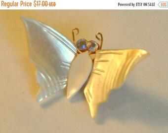ON SALE Vintage MOP Butterfly Brooch - Enchanting
