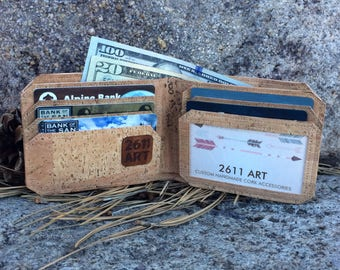 Natural Cork Wallet with ID slot /Cork Wallet / Mens Wallet / Bi-Fold Wallet / Vegan Wallet / Vegan Leather Wallet / Groomsmen Gift