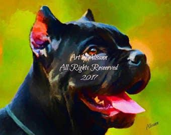 Affordable Custom Dog Portraits - You send me your Photos - I create the portrait. Cane Corso - I love dogs!