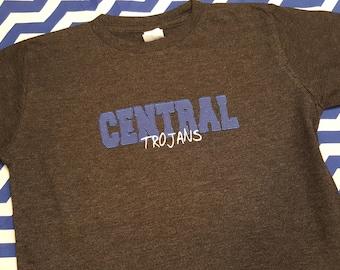 Central Trojans School Spirit Shirt - Zig Zag Stitch Varsity Letters