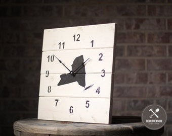 State Silhouette Shiplap Wall Clock (Your Choice)