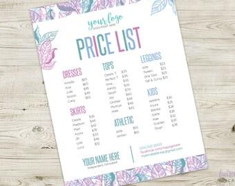 Custom Botanical Price Sheet | DIGITAL Listing