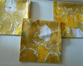S A L E 3 vintage Vera Neumann yellow brown floral napkins
