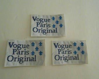 vintage Vogue Paris Original sew in labels fleur de lis