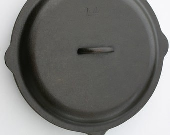 "Vintage 15 1/2"" HUGE LODGE Exceptionally Rare Size No. 14 Cast Iron Skillet Fry Pan w/ Lid Professionally Cleaned, Seasoned Organically"