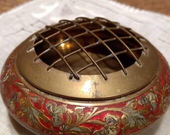 Vintage Brass Etched Flower Vase Frog / Bowl / Potpourri Dish / Boho Decor