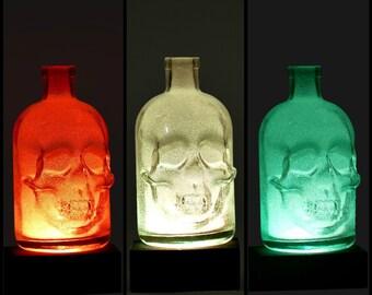 Bottle lamp, upcycled, recycled lights, multicolor diamond efekt bottle lights, skull, remote control lamp, poletsy