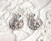 Spoon Earrings Spoon Silverware Jewelry - ORANGE BLOSSOM 1910 - STERLING Silver Ear Wires - Antique Keepsake Gift Ready To Ship