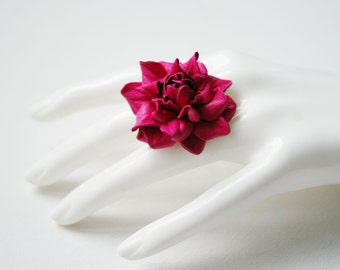 Hot pink leather rose flower ring