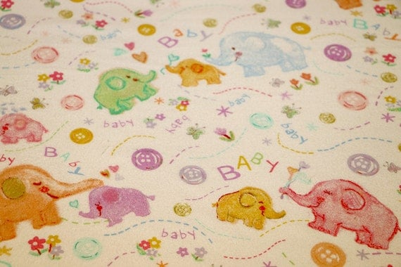 Flannel fabric by the yard baby elephants 100 cotton for Children s flannel fabric by the yard