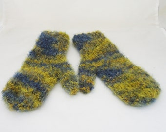 Mohair Woman Mittens, Blue and Yellow Mittens, Handknitted Woman Mittens, Winter Mohair Woman Mittens