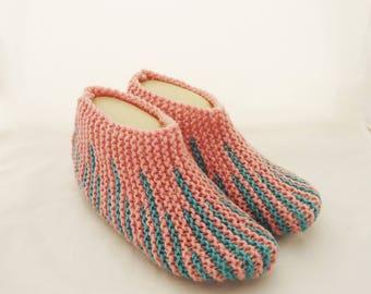 Handknitted Indoor Women Slippers, Short Socks, Striped Slippers, Home Slippers, Slippers in Pink and Blue, Women Short Socks