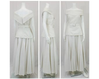 BARBOGLIO White Two Piece Top and Skirt Set Size 10