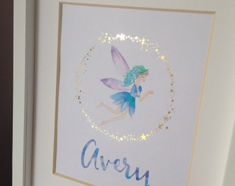 Real Gold Foil Fairy Nursery Decor Custom Name Wall Art Watercolor Fairy Girl's Bedroom Decor Custom Baby Gift 8x10 New Baby Name Gift