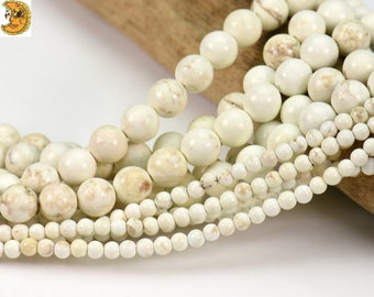 15 inch strand of Natural White Turquoise smooth round beads 3mm 4mm 6mm 8mm 10mm 12mm for choose