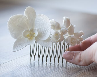 Wedding hair comb - orchid fascinator - bridal hairpiece - orchid hair comb - bridal hair accessories - tropical white wedding