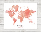 Wedding Guest Book Alternative Map, World Map, Digital File, Printable, Travel Themed Wedding, Destination Wedding, Watercolor