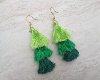 Raw Silk Tassel Earrings Green Ombre Tassle Earrings Summer Jewelry