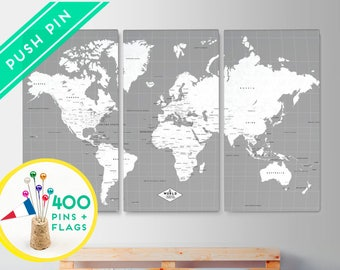 Personalized Canvas World Map Push Pin Large Size - Gray White Color - Set 3 CANVAS - Ready to Hang - 240 Pins + 198 World Flag Sticker