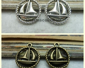30PCS sailboat charm pendant antique bronze (W7258) / antique silver (W7336) 16X18mm wholesale zinc alloy charms