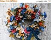 Year End Sale Year Round Wreath, Poppy Wreath, Blue Orange Wreath, Country Wreath, Floral Wreath, Sunset Wreath, Everyday Wreath