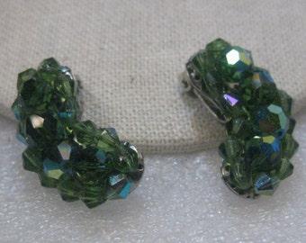 "Vintage Green/Blue Aurora Borealis Beaded Clip Earrings, Mid-Century, Crescent, 1.25"""