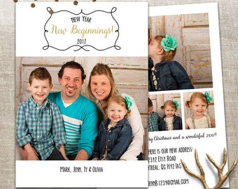 Holiday Photo Card - 5x7 2 sided printable download - 5 Photo - New year, New beginnings - Custom and Personalized - Christmas and New Year