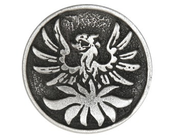 2 Phoenix 1 inch ( 25 mm ) Pewter Buttons