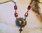 HOLIDAY SAVINGS Red Rose Necklace Vintage 1920's 1930's Czech Floral Reverse Painted