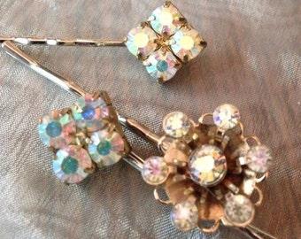 HOLIDAY SAVINGS Decorative Hair Pins Vintage Bridal 1950's AB Aurora Borealis Hairpins Bobby Pins (Set of 3)